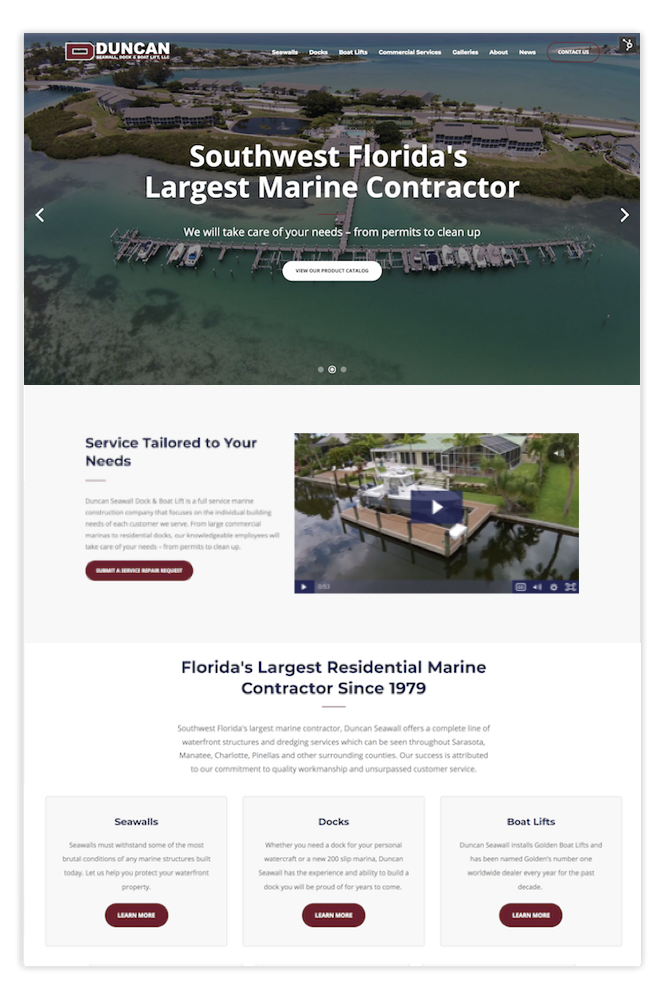 marine contractor sarasota website design