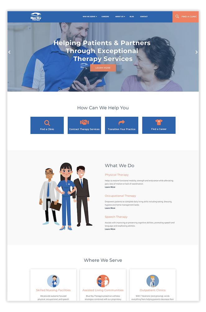 Therapy services healthcare website design