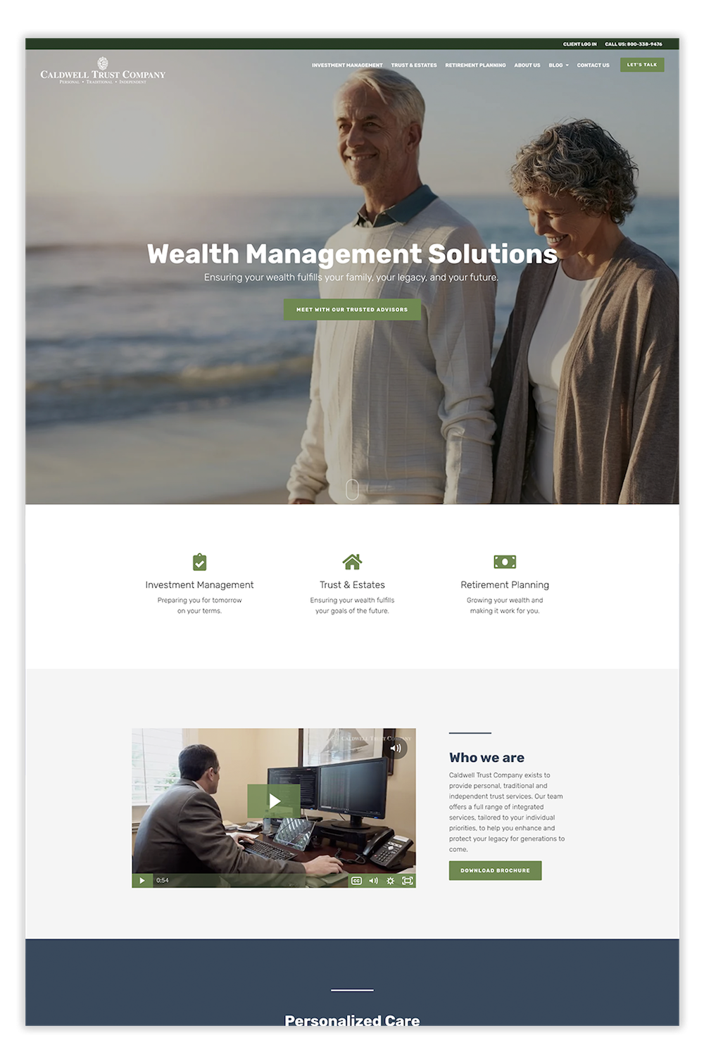 Trust company estate planning website design