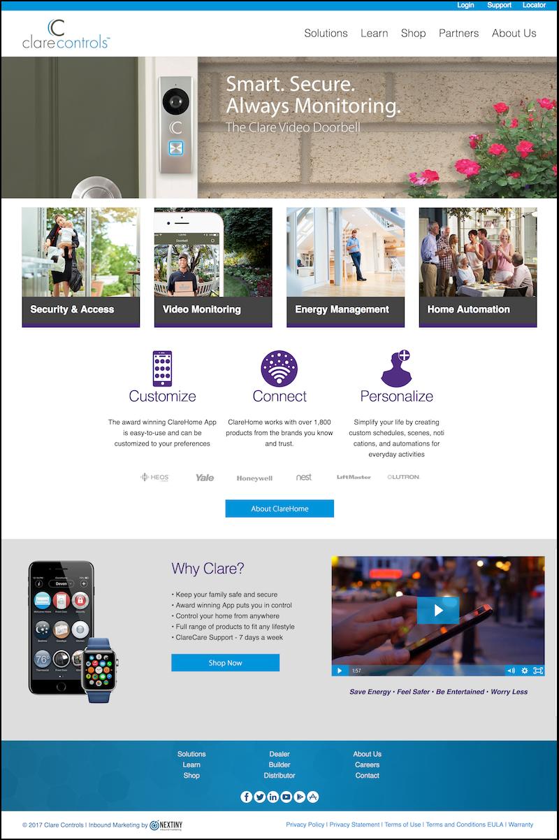Clare Controls HubSpot COS Website Design Sarasota Florida