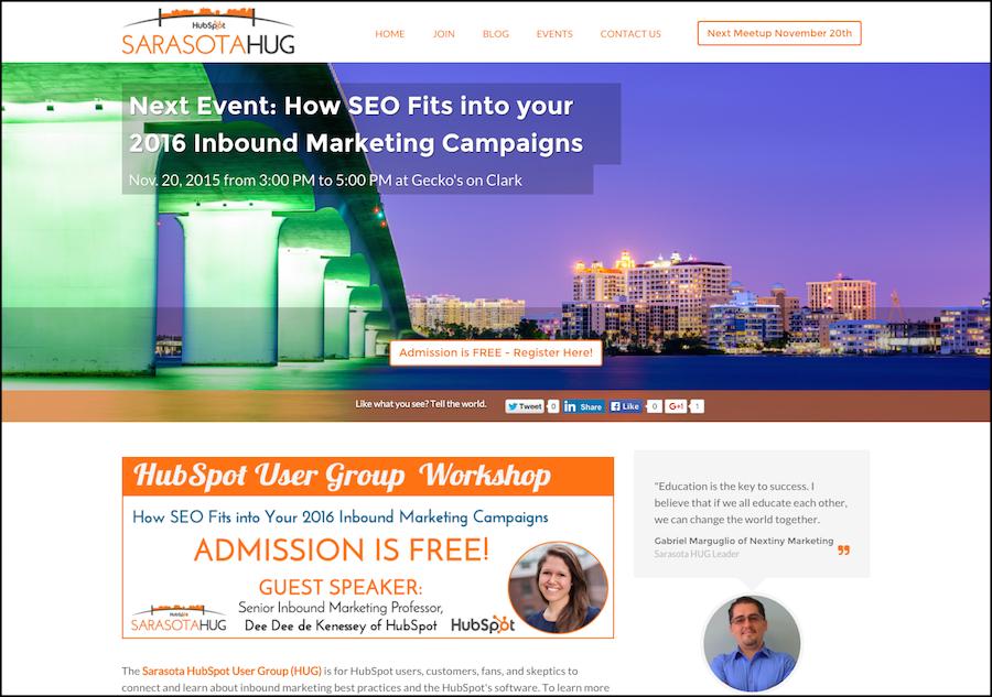 Inbound Marketing HubSpot User Group HUG Sarasota  FL